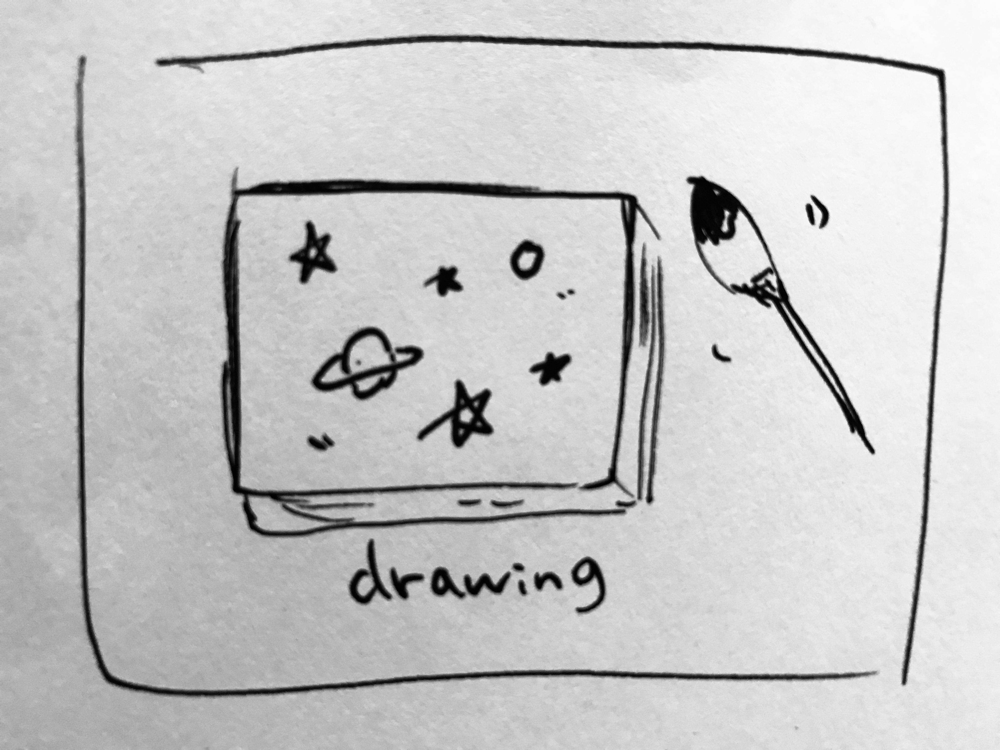 アクリル絵具&布地キャンパス版・宇宙の絵