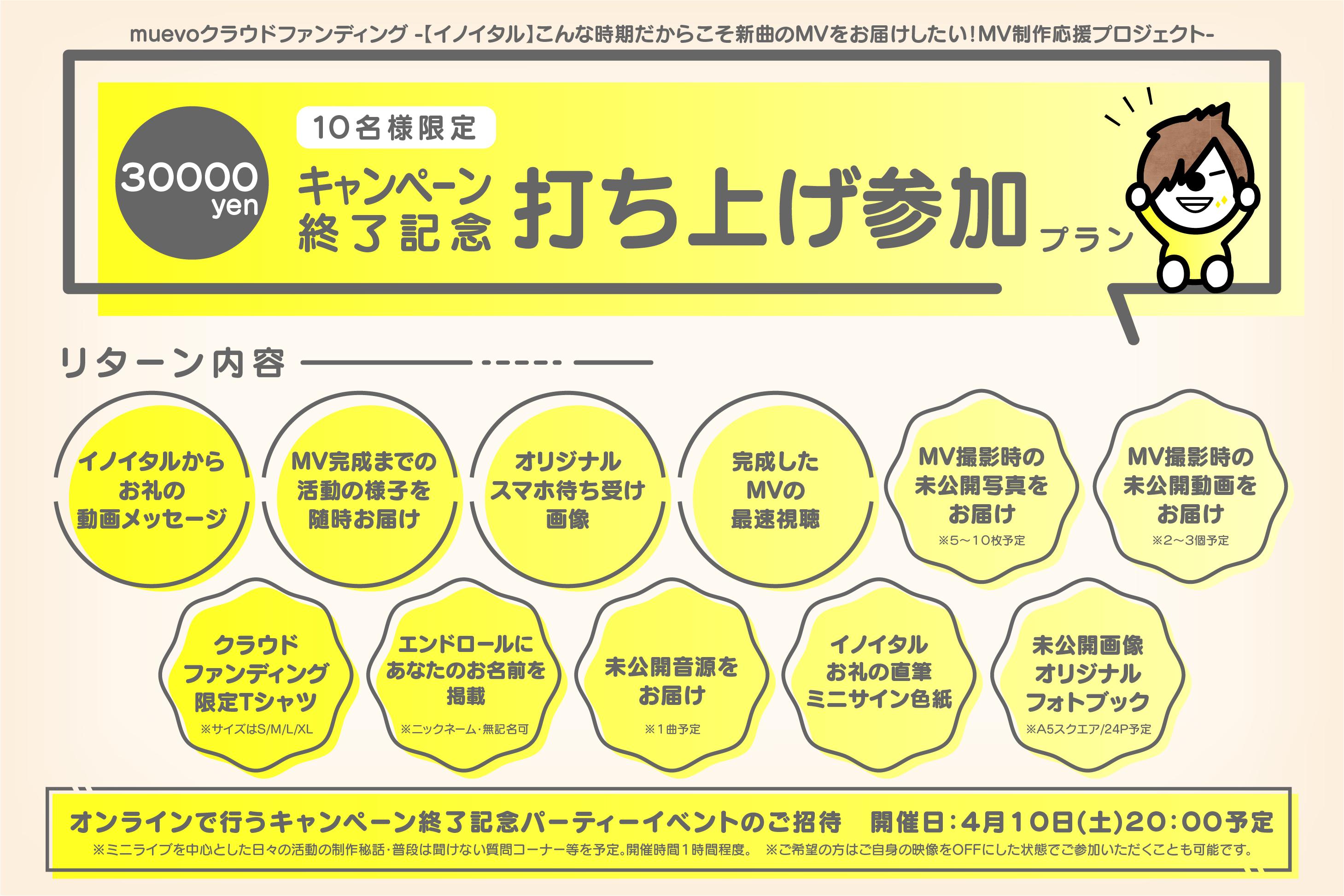 <キャンペーン終了記念 打ち上げ参加 プラン>限定10名